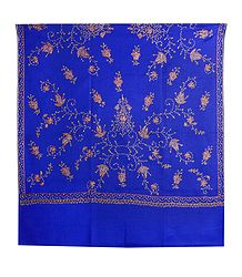 Embroidered Blue Kashmiri Woolen Shawl