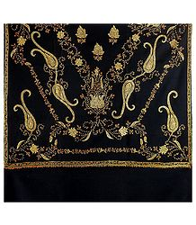 Buy Ladies Black Kashmiri Woolen Shawl