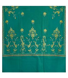 Embroidered Cyan Blue Kashmiri Woolen Shawl for Ladies