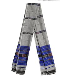 Grey Cotton Stole with Ikkat Design Pallu