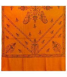 Yellow Kashmiri Woolen Shawl for Ladies