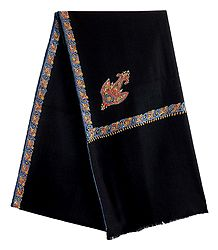 Black Woolen Ladies Shawl with Embroidered Border