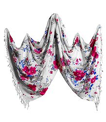 Magenta Floral Print on White Light Woolen Stole