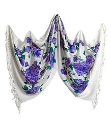 Purple Print on White Light Woolen Stole