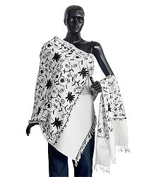 Black Embroidery on Light Woolen White Stole