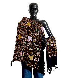 Multicolor Embroidery on Light Woolen Black Stole