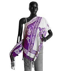 Reversible Mauve and White Woolen Stole with Weaved Floral Design