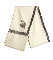 Ivory Woolen Mens Kashmiri Shawl with Embroidered Border