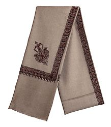 Copper Brown Woolen Mens Kashmiri Shawl with Embroidered Border