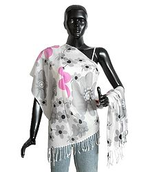 Grey and Pink Floral Print on White Light Woolen Stole
