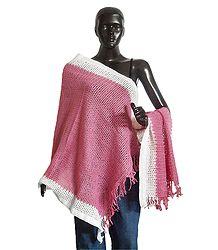 Light Pink Woolen Stole with White Border - Online Shop
