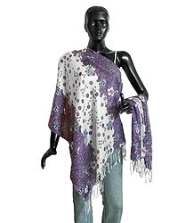 White with Purple Light Woolen Stole with Floral Print