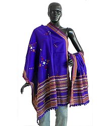 Purple Ladies Kutchi Shawl with Mirrorwork