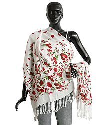 Red Floral Print on White Light Woolen Stole