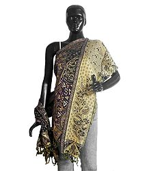 Weaved Paisley Design Purple with Yellow Reversible Woolen Stole