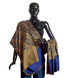 Blue with Yellow Reversible Woolen Kani Shawl