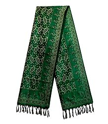 Green Banarasi Tanchoi Stole with Leaf Design