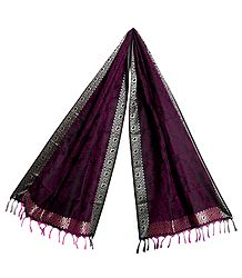 Purple with Black Banarasi Tanchoi Stole with Paisley Design