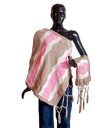 White, Blue & Pink Woolen Stole - Online Shop