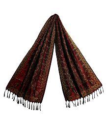 Maroon Banarasi Silk Tanchoi Stole