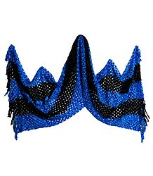 Dark Blue and Black Fancy Silk Thread Stole