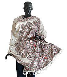 White Woolen Shawl with Hand Painted Madhubani Design
