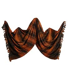 Dark Saffron and Black Check Glittered Light Woollen Shawl