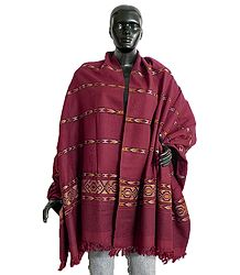 Maroon Kullu Shawl with Colorful Weaved Design from Himchal Pradesh