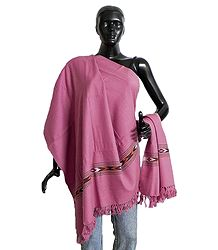 Rose Pink Kullu Shawl with Colorful Weaved Design from Himchal Pradesh