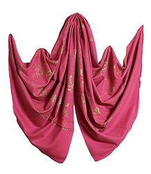 Embroidered Pink Kashmiri Woolen Shawl