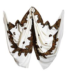 White Woolen Shawl with Embroidered Border