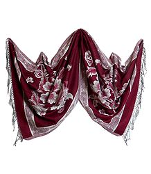 Reversible Maroon and White Woolen Stole with Weaved Floral Design