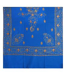 Embroidered Blue Kashmiri Woolen Shawl for Ladies