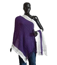 Purple Woolen Stole with White Border