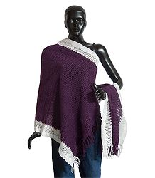 Dark Mauve Woolen Stole with White Border - Online Shop