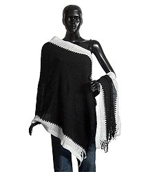 Black Woolen Stole with White Border