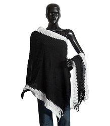 Black Woolen Stole with White Border - Online Shop