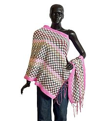 Shop Online Woolen Stole with Pink Border