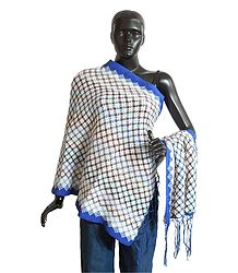 Woolen Stole with Blue Border