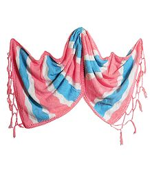 White, Blue and Pink Woolen Stole