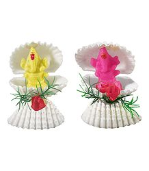 Pair of Pink and Yellow Ganesha in Shell