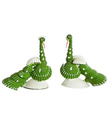 Set of 2 Green Peacock