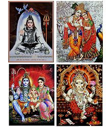 Shiva Family,Shiva,Radha Krishna and Ganesha - Set of 4 Glitter Posters