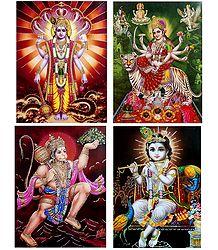 Vishnu, Krishna, Hanuman, Vaishno Devi - Set of 4 Glitter Poster