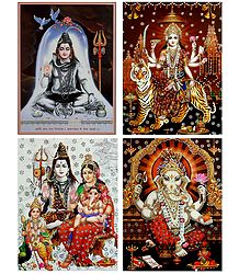 Shiva Family,Shiva,Bhagawati and Ganesha - Set of 4 Glitter Posters