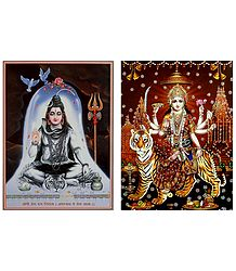 Shiva and Bhagawati - Set of 2 Glitter Posters