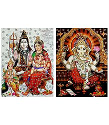 Shiva Family and Ganesha - Set of 2 Glitter Posters
