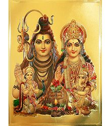 Lord Shiva, Parvati, Kartik  and Ganesha - Poster