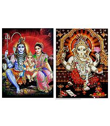 Shiva Family and Ganesha - Set of 2 Glitter Posters