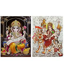 Ganesha and Vaishno Devi - Set of 2 Glitter Posters
